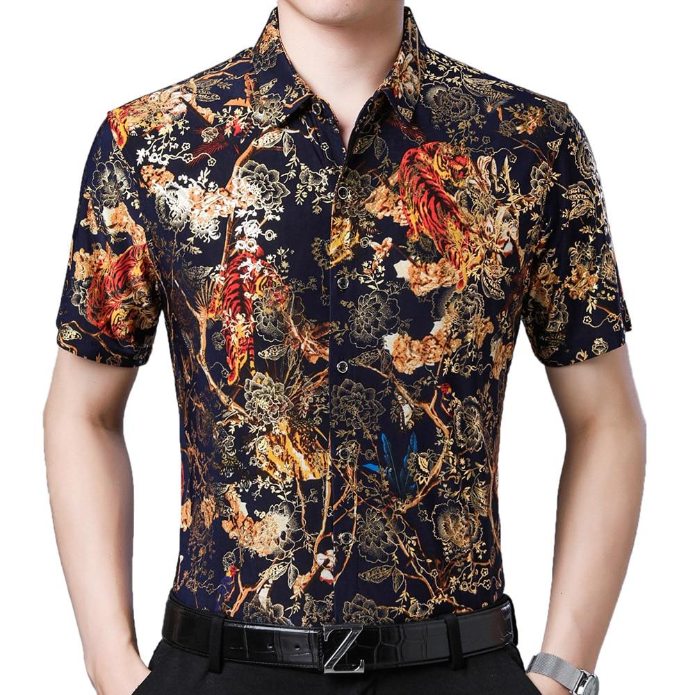 2021 Fashion Summer Short Sleeve Mens Clothing Hawaiian Gold Bronzing Print Shirt for Men Shirts Streetwear Jerseys Dress 1007