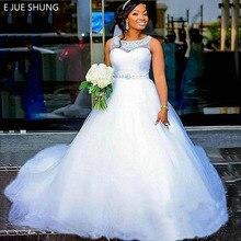 E JUE SHUNG-robe de mariée plissée en Tulle blanc, robes de mariée au dos avec perles cristaux, à lacets
