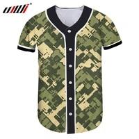 ujwi unique military camouflage 3d print basebal shirt 2020 factory drop shipping mens hip hop streetwear shirts