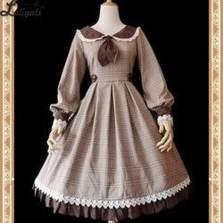 Bibliotecário ~ Clássico Lolita Vestido Xadrez de Manga Comprida Vestido de Festa por Infanta