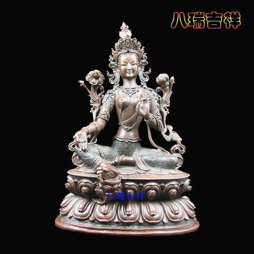 Supervisão de Cobre Taer Templo Fino Duplo Lótus Assento Verde Tara Buda Estátua Altura 17.5cm Budda er