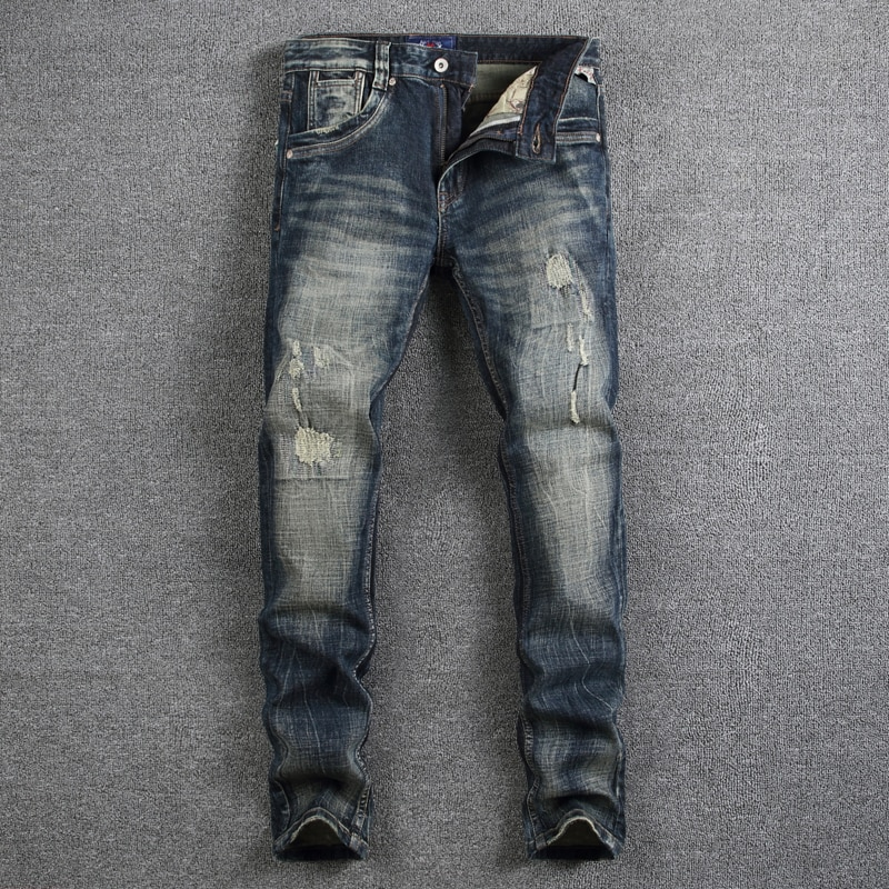 Европейские винтажные модные мужские джинсы в стиле ретро, черные и синие Эластичные зауженные рваные джинсы, мужские дизайнерские потерты...