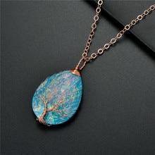 Handmade Baum des Lebens Halskette Anhänger Kupfer Draht Gewickelt Blau Weiß Harz Kunststoff Wasser Tropfen Healing Halskette Mode Schmuck