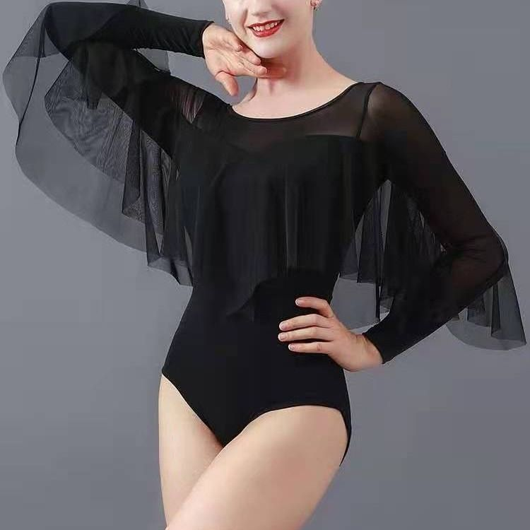 جديد 2021 ملابس ممارسة الرقص الحديثة للبالغين ملابس نسائية للرقص على شكل زهرة اللوتس بأكمام طويلة احترافية من قطعة واحدة ملابس رقص لاتينية