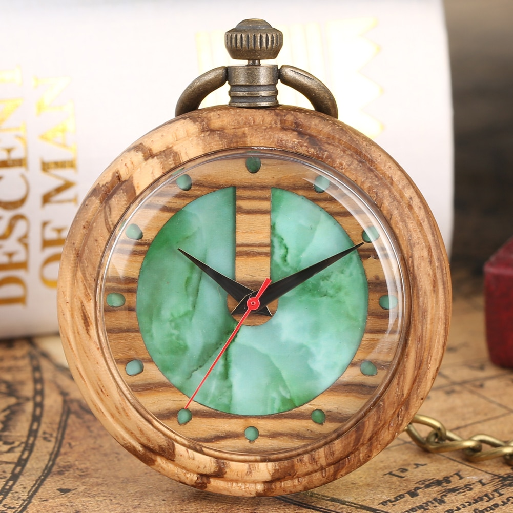 Bonito reloj de bolsillo de esfera con diseño de Marbling verde encantador reloj de bolsillo de cuarzo de madera para damas marrón claro caso de madera colgante