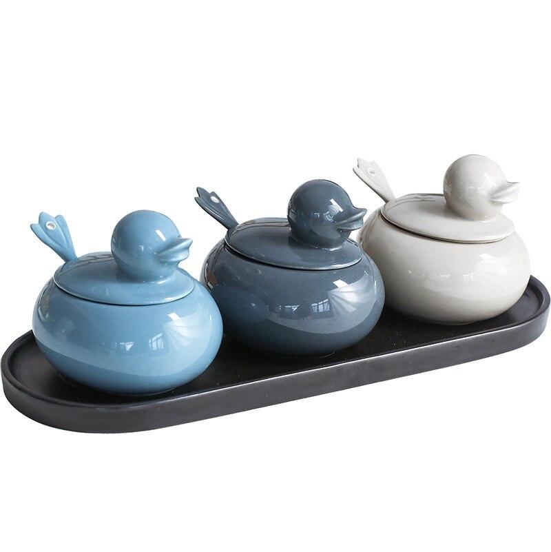 فراخ البط السيراميك التوابل جرة الإبداعية الكرتون المطبخ المنزلية مزيج التوابل جرة التوابل خزان هزاز الملح التخزين