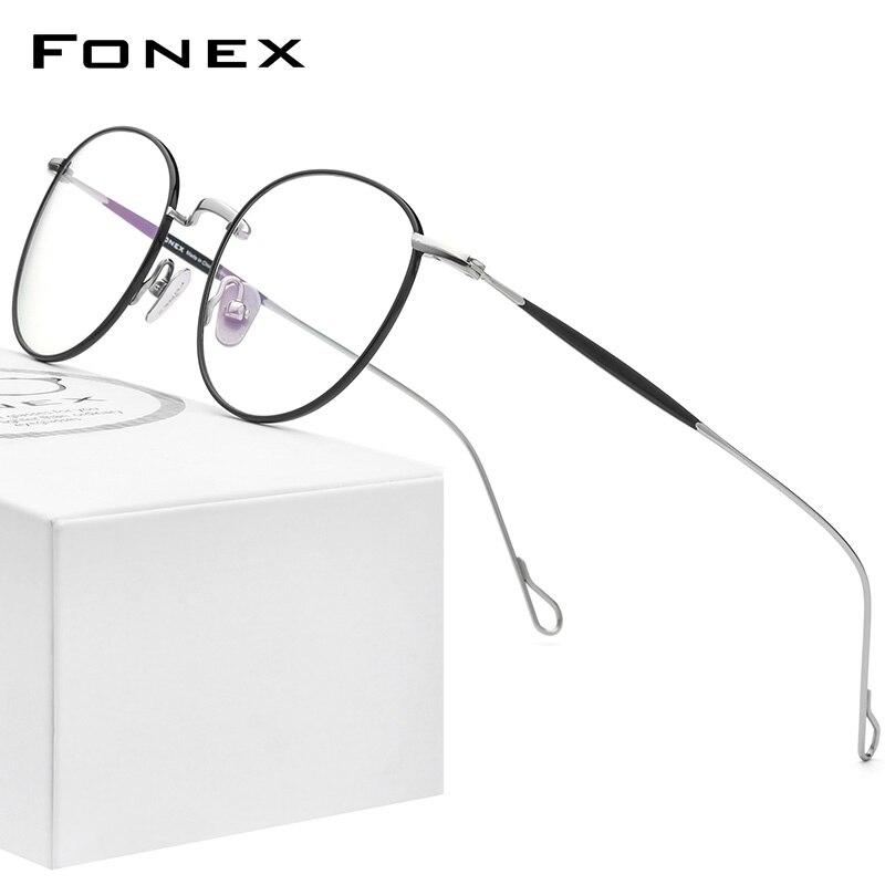 FONEX التيتانيوم النظارات الإطار النساء Vintage قصر النظر المستديرة البصرية إطار وصفة طبية نظارات الرجال 2021 جديد تيتان نظارات F85645