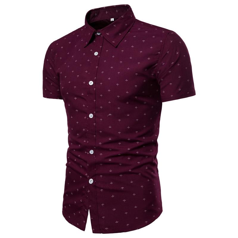 Новинка 2019, Брендовые мужские рубашки с коротким рукавом и принтом якоря, европейские размеры, облегающие повседневные мужские рубашки