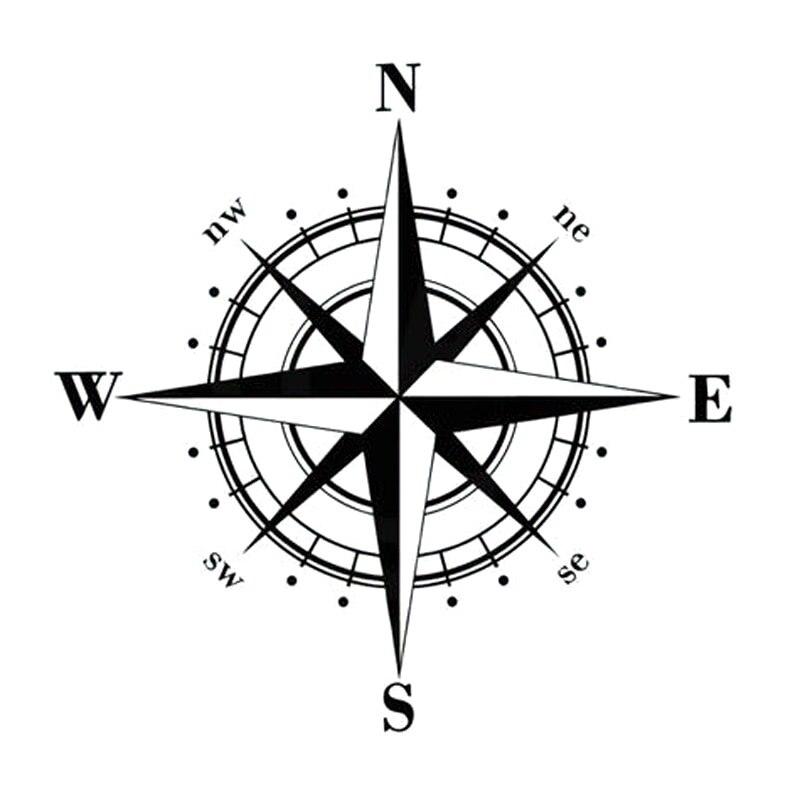 15cm*15cm /50cm*50cm Art Design Vinyl NSWE Compass Car Stickers Decals Black/Silver S6-3505