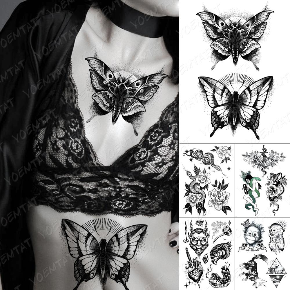 AliExpress - Waterproof Temporary Tattoo Sticker Dark Old School Moth Butterfly Flash Tattoos Snake Rose Body Art Arm Fake Tatoo Women Men