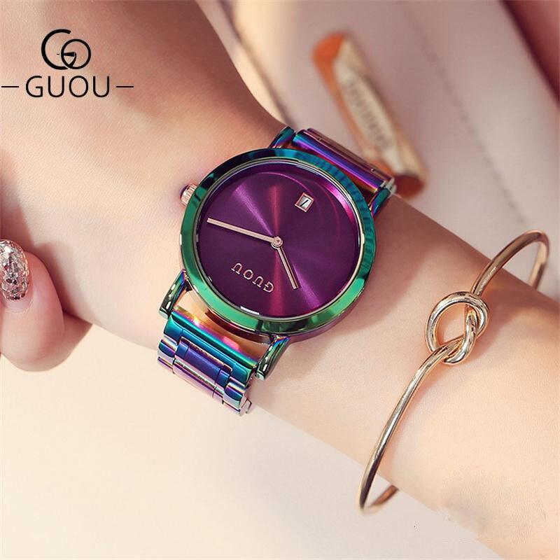 Relojes de lujo guú para mujer, correas coloridas de acero inoxidable, relojes morados para mujer, reloj de moda para mujer, reloj zegarek damski