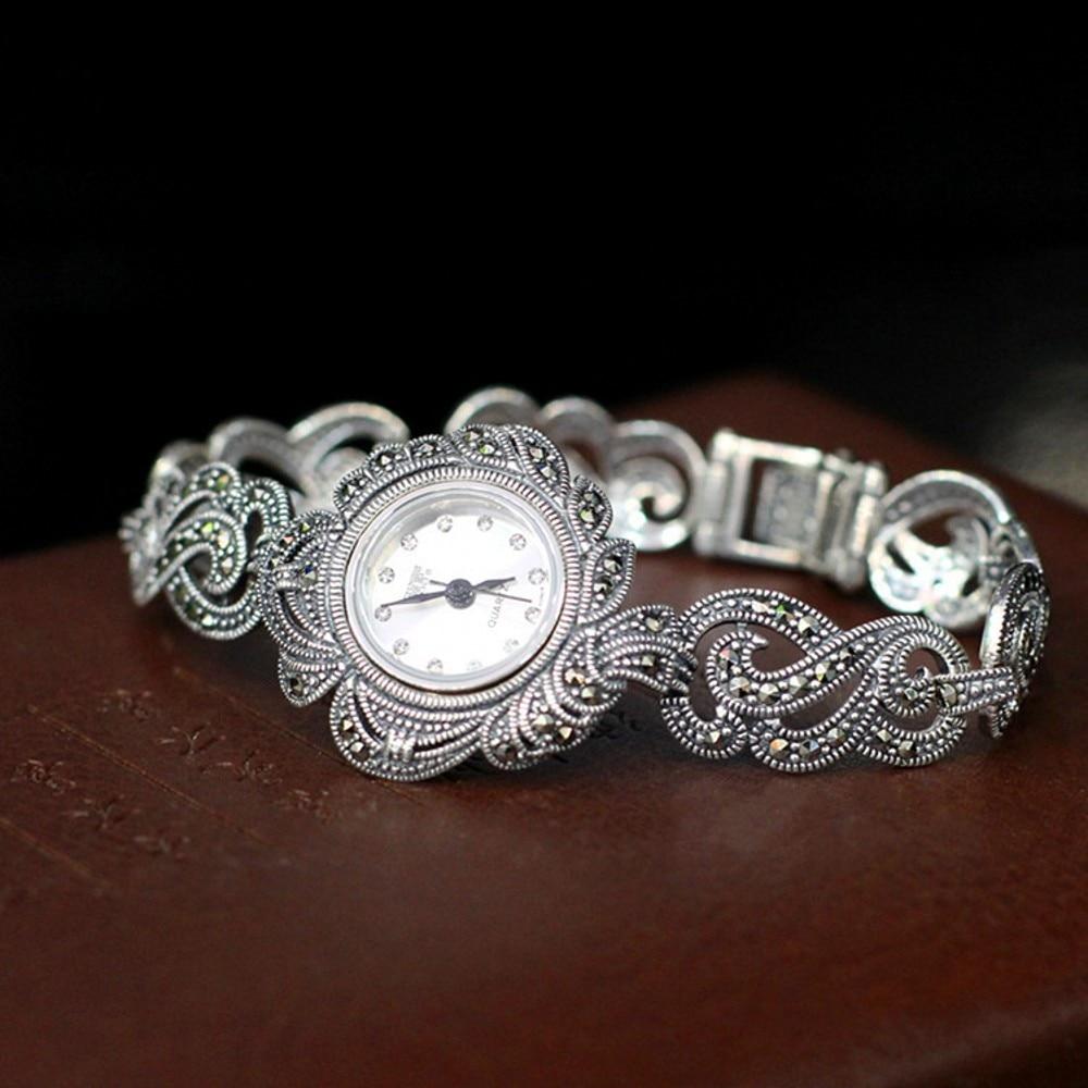 S925 pure silver refinado thai feminino estética temperamento tipo pulseira relógios