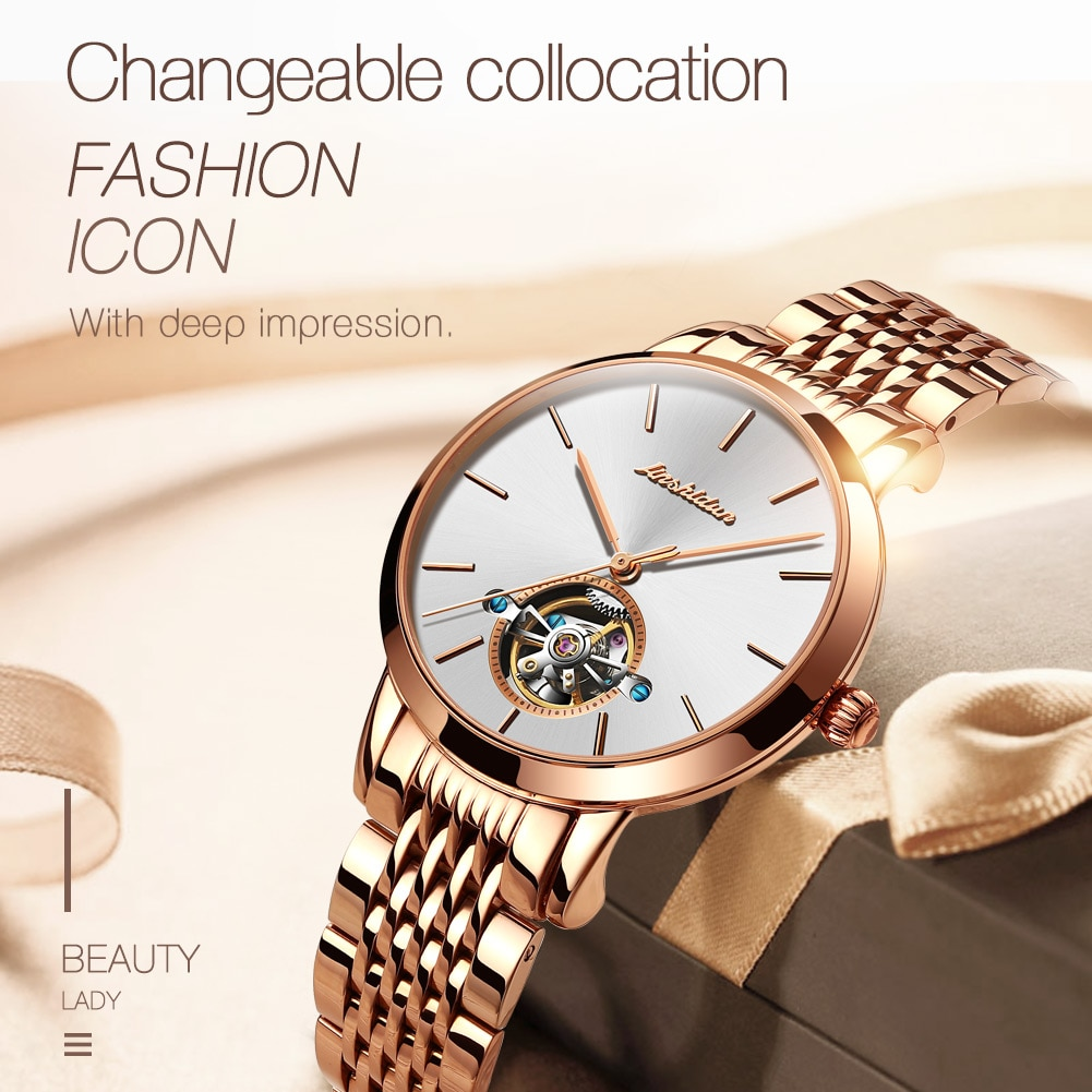 Women's automatic mechanical wristwatch couple watch with stainless steel watchband waterproof luxury hollow design lovers clock enlarge