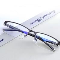 Очки для близорукости с металлической полуоправой, квадратные очки для близорукости для мужчин и женщин, очки для близорукости с защитой от...