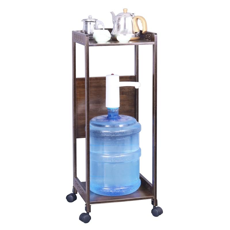 Estantería para agua potable marrón estante de bambú estante de almacenamiento impresora de madera estante de cocina mesa móvil