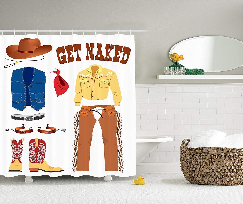 Cortina de ducha personalizada Western Cowboy American Countryic Art para el baño del hogar cortinas de baño decorativas con ganchos