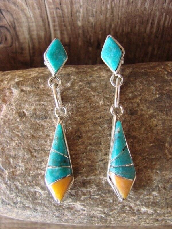 Pendientes largos de piedra azul rombo Vintage para mujer, joyería Zuni india, pendientes con incrustaciones de ostra espinosa
