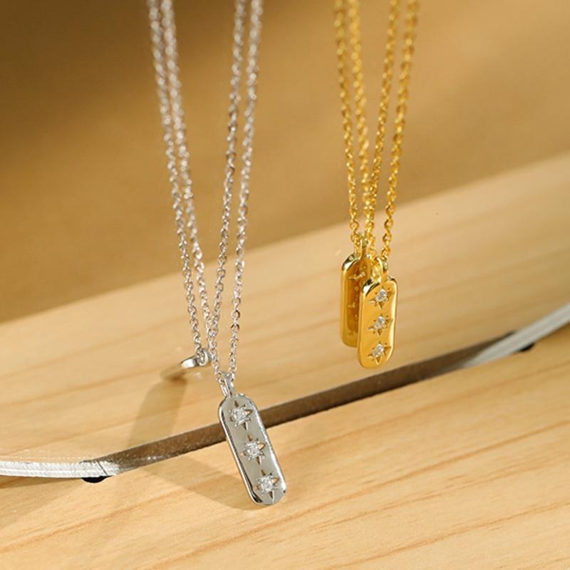 Длинные квадратные Циркон Подвески Мода ювелирные изделия 925 стерлингового серебра ожерелья для женщин золотое ожерелье, подарок для девуш...
