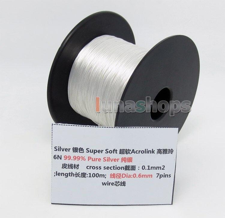 Cabo de Fio Fone de Ouvido 0.6mm para Faça Acrolink Prata Pura 99.9% Sinal 7 – 0. 1mm2 Diâmetro: Você Mesmo Cabo Personalizado Ln004429 100m 30awg