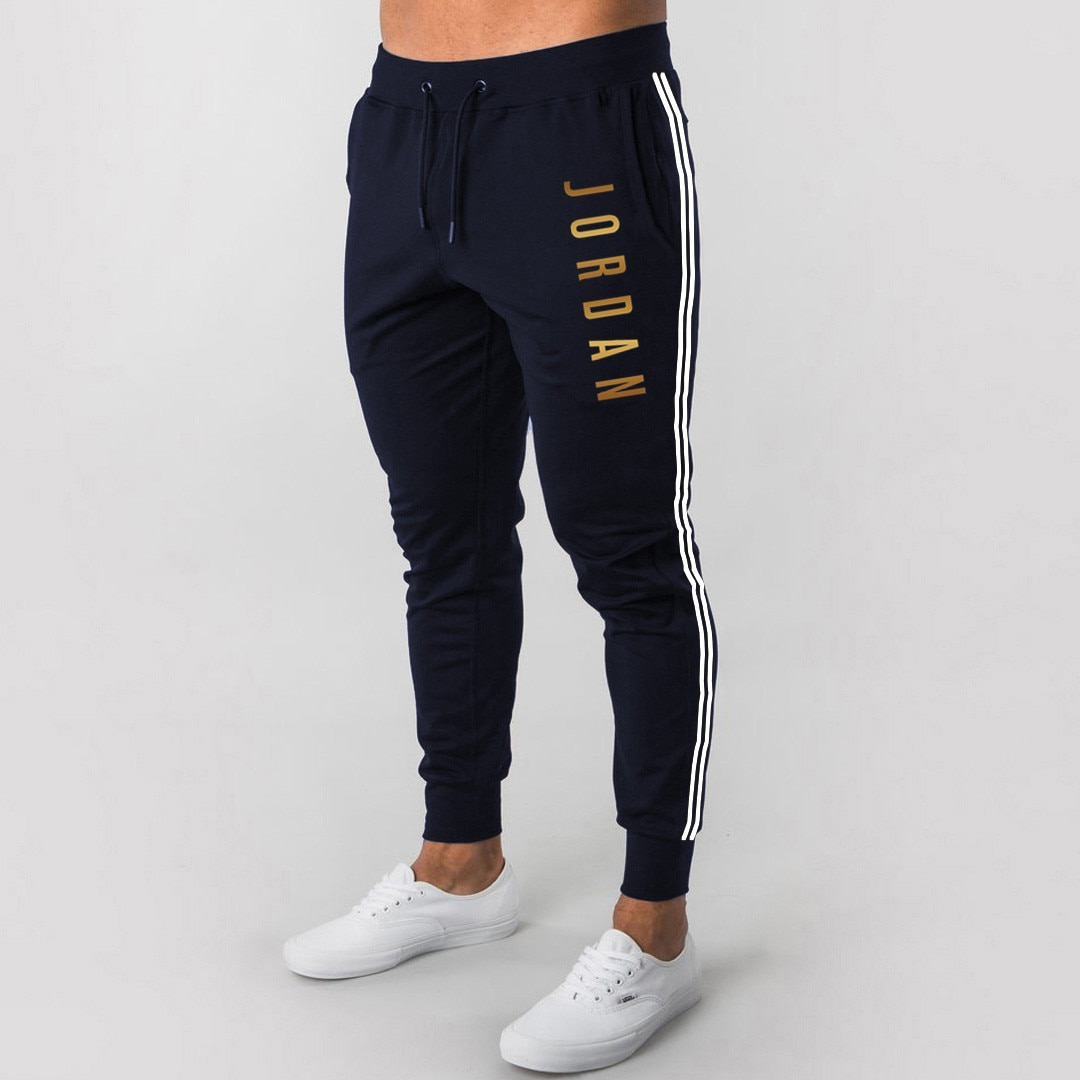2021 men's fashion letter printing sports casual stretch jogging sports solid color pocket men's trousers