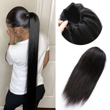 Straight Ponytail Drawstring1b/99j Ponytail Brown Ponytail With Clips Brazilian Human Hair Extension For Black Women