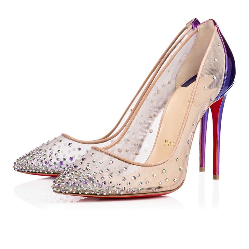 Ladies Fashion Luxury Pumps Women Sexy Lace Platform Clear High Heels 8 10 12cm Red Bottom Mules Par