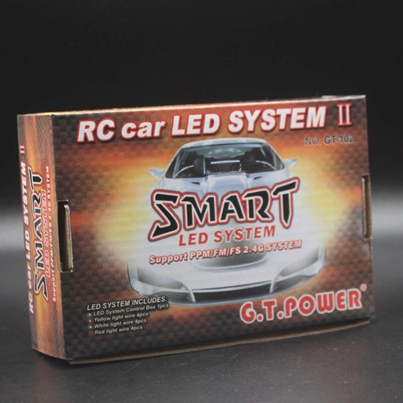 Iluminación GT power RC para coche, 12 luces LED inteligentes controlables modelo de enlace, 2 PPM FM FS 2,4G kit de freno + faro + señal