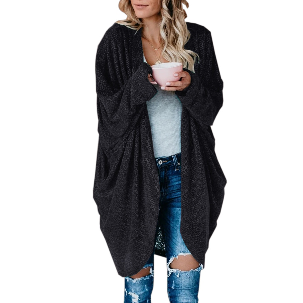 Cardigan Women Autumn Winter 2021 New Casual Loose Solid Color Long Sleeve Long Cardigans Black Gray Knitted Outwear veste femme