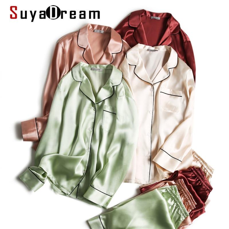 SuyaDream Women Silk Pajamas Solid 100%Real Silk Long sleeves Sleepset Set 2020 Turn Down Collar Print Two-piece Nightwear