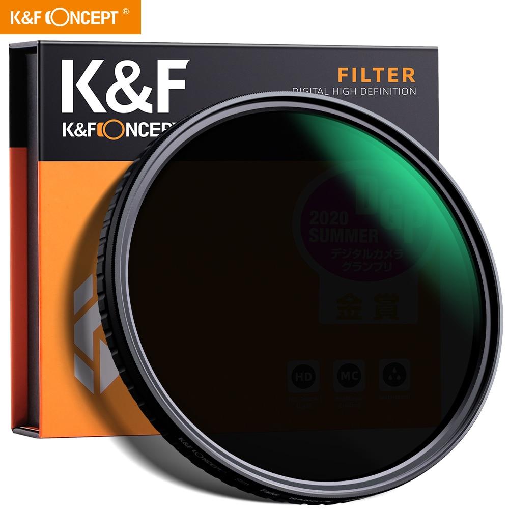K & F مفهوم 55 مللي متر 58 مللي متر 62 مللي متر 67 مللي متر 77 مللي متر Fader ND تصفية محايد كثافة متغير تصفية ND2 إلى ND32 للكاميرا سوني عدسة NO