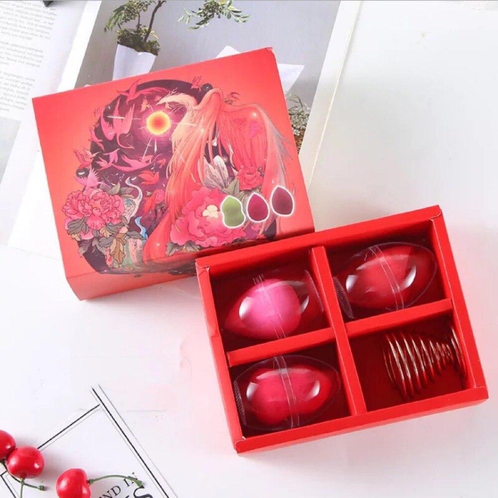 Esponja con forma de huevo de maquillaje de belleza de estilo chino, conjunto de puff de calabaza, caja empapada en agua, hidrofílico grande, sin látex, no es fácil de absorber powde