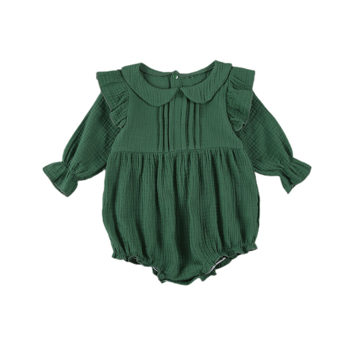 Newborn Baby Girls Romper Long Sleeve Lapel Collar with Buttons Bodusuit Spring Autumn Clothing