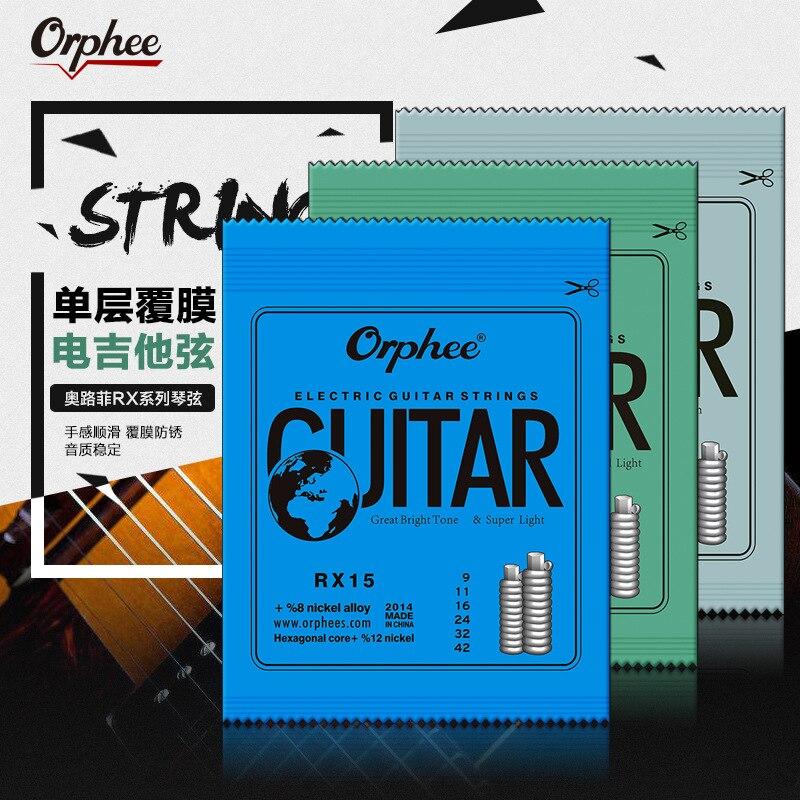 Orphee 1 conjunto praticado niquelado aço cordas da guitarra elétrica para a guitarra elétrica com pacote de varejo original rx15 rx17 rx19