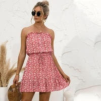 women sexy off shoulder print sundress summer elegant strapless female wrapped breast mini night dress for ladies party robe ete