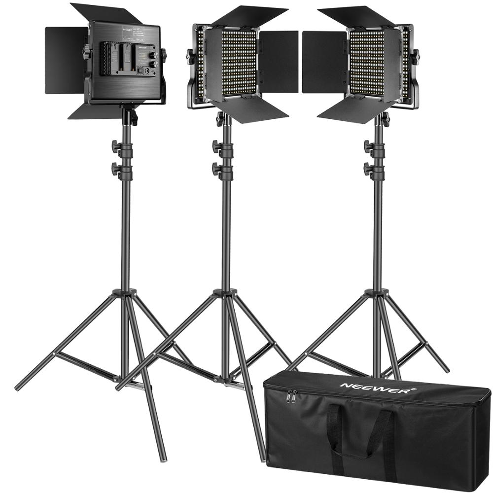 Neewer 3 Pack 660 LED-Videolicht-Fotografie-Beleuchtungs Set mit Stativ dimmbares CRI96 + LED-Feld (3200-5600K), Premium-200