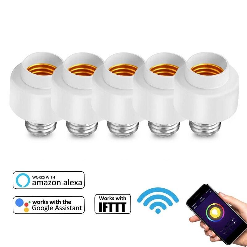 Smart Life-enchufe para hogar IFTTT, enchufe de pared inteligente con Wifi, 5 unidades, enchufe E27 compatible con Amazon, Alexa y Google Home
