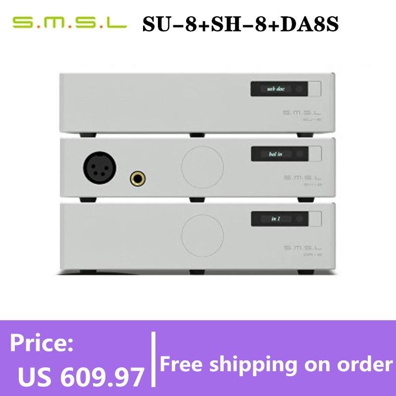 SMSL SU8 + SH8 + DA8S فك USB محوري الألياف DSD الحل الصلب SH8 مضخم ضوت سماعات الأذن DA8S مكبر كهربائي