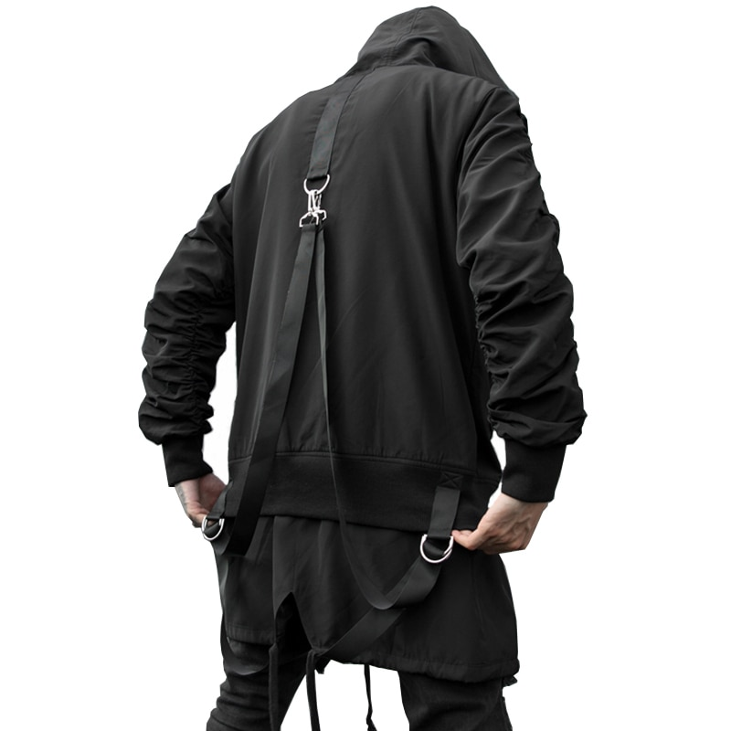 New Autumn Darkly Style Street Fashion Ribbons Spliced Hip Hop Gothic Mens Hooded Jackets Punk Youth Streetwear Zipper Coats