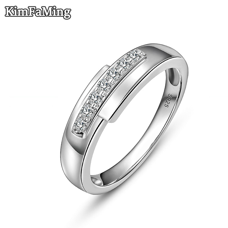 Classic Man Silver Rings Cubic Zirconia Sterling Fine Jewelry Aniversary Gift for Husband R107
