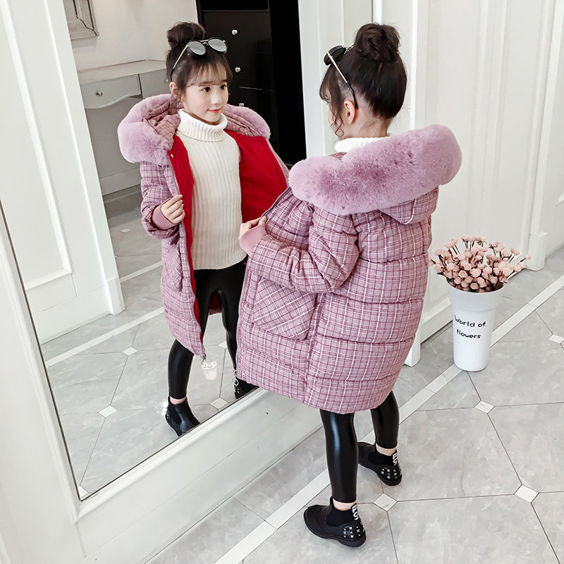 Girls Winter Coat Plaid Parka Kids Long Sleeve Children Cotton-Padded Jacket Thick Warm Clothes For Teen Girls 6 8 10 12 13 Year enlarge