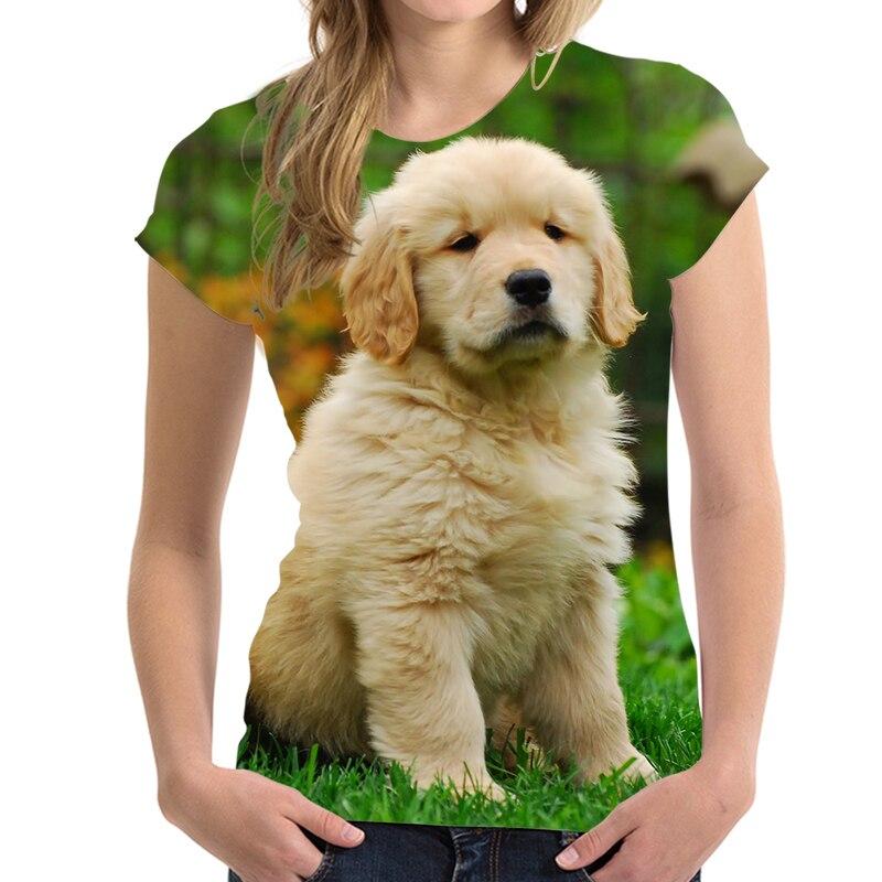 Camiseta Golden Retriever con logotipo de Imagen personalizada para mujer, camiseta transpirable con cuello redondo, camiseta Col Roul Femme, envío gratuito
