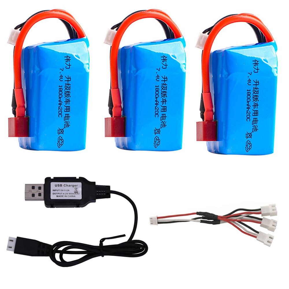 7.4 v 1800mah lipo bateria e carregador usb para wltoys A959-b A969-b A979-b K929-B rc carros brinquedos acessórios 7.4 v para carros wltoys
