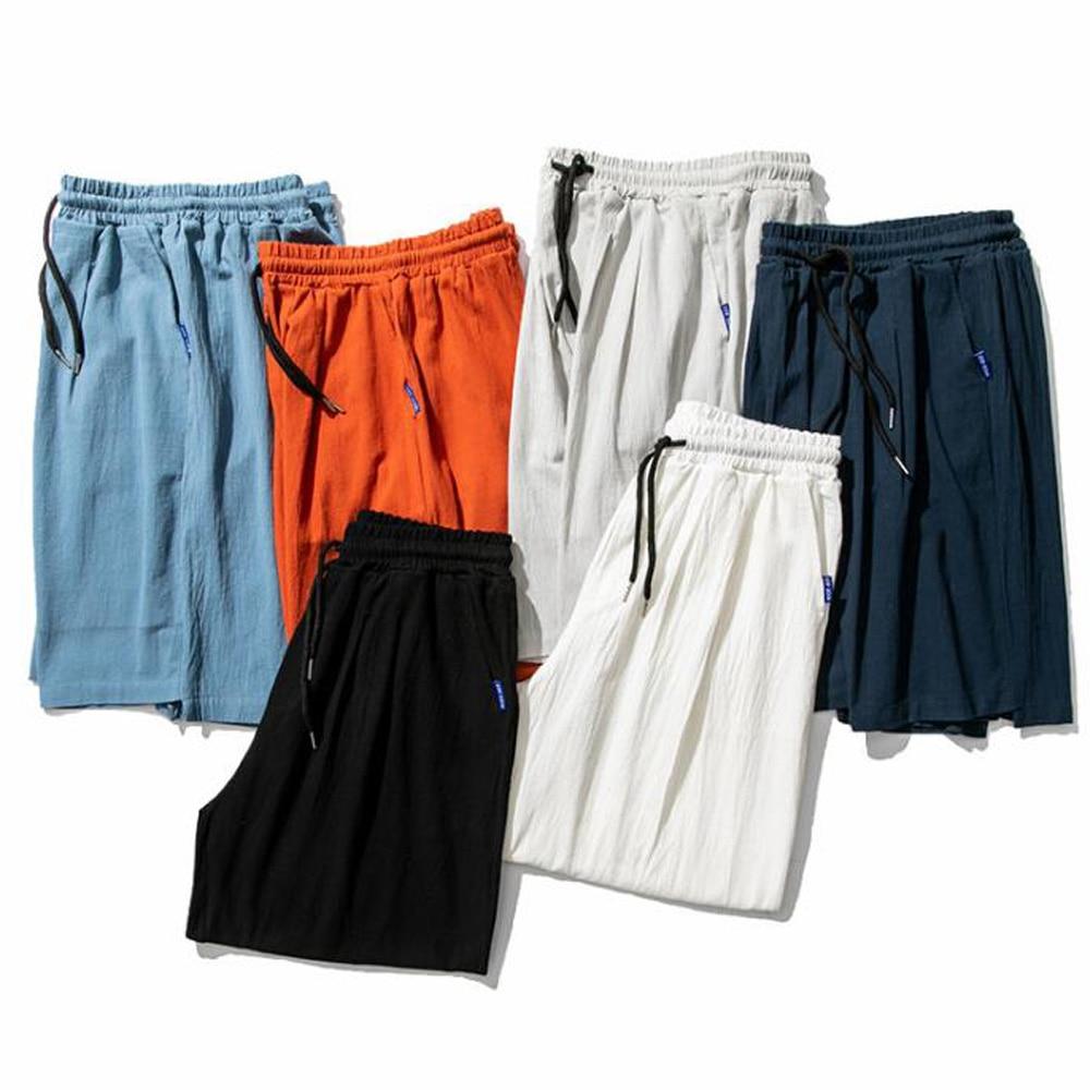 Pantalones cortos de algodón de lino para hombre, pantalones cortos sueltos de verano, pantalones cortos de cintura elástica para hombre, pantalones cortos de talla grande para hombre, pantalones cortos de motorista negros 4XL