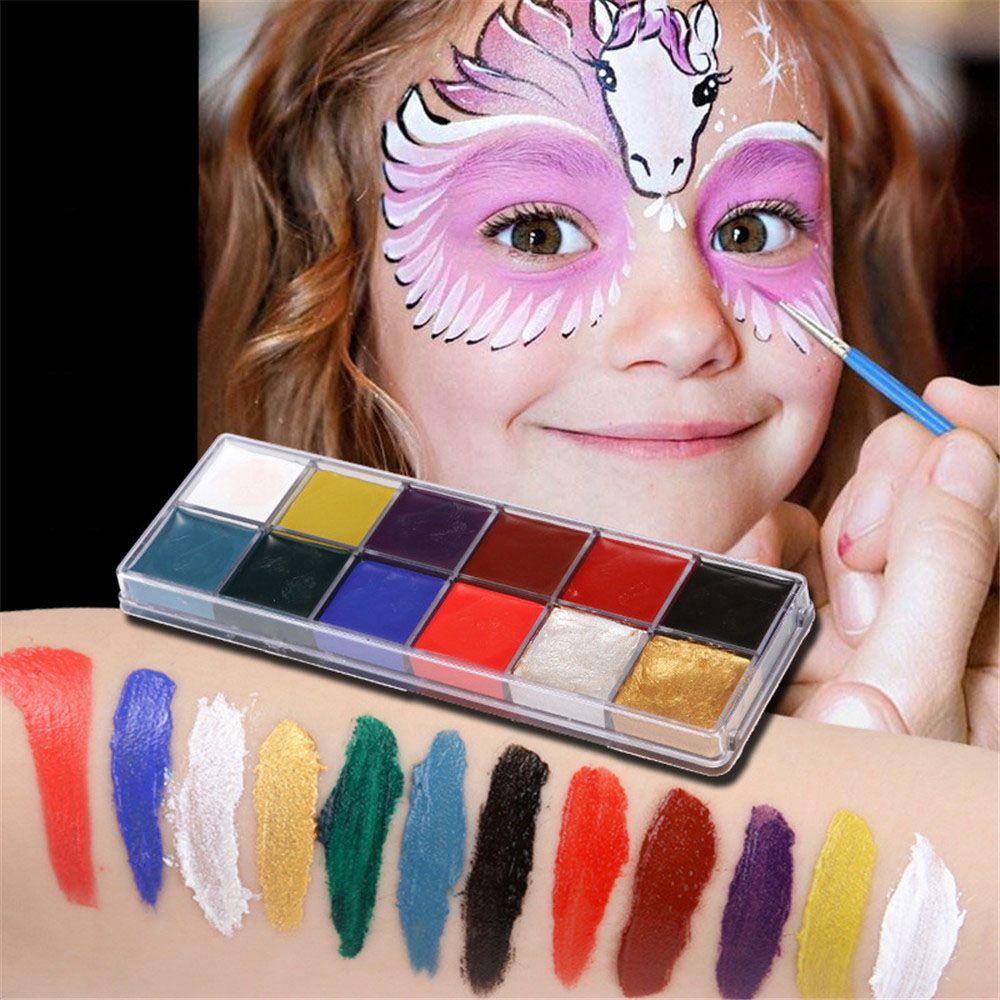 12 Cuerpo de Color arte pintura facial al óleo pintura corporal juego payaso efectos especiales maquillaje cara pintado maquillaje Flash tatuaje Accesorios