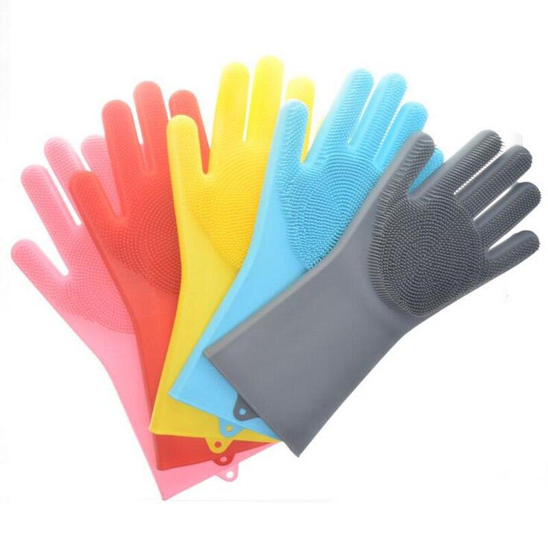1 par de guantes de silicona para lavar platos con cepillo de limpieza guante de limpieza para el hogar 100% guantes para lavar platos de grado alimenticio