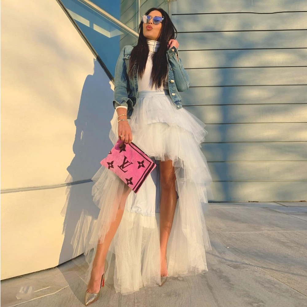Estilo Hippie falda alta-baja de moda tul niveles Faldas Mujer Chic Tutu largo falda cremallera cintura vestidos fiesta