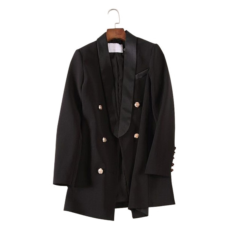 أسود السترة النسائية عالية الجودة مكتب سيدة بدلة عمل جيوب جاكيتات معطف سليم فام أبلى