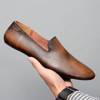 black men loafers shoes luxury genuine leather slip on moccasins casual men shoes vintage loafers mens flats driving shoes 2020