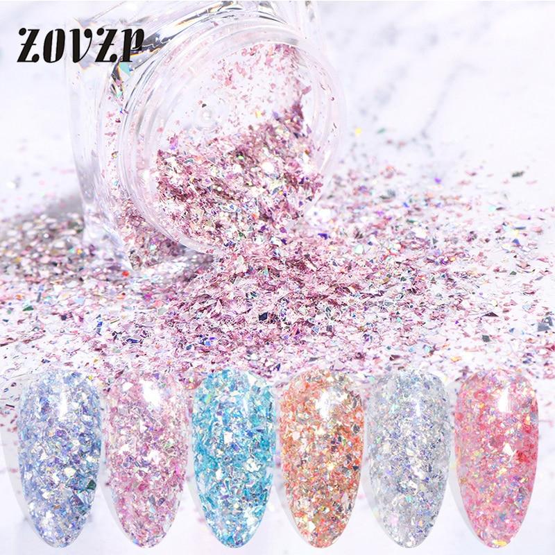 ZOVZP-Nuevo pulidor de uñas brillante con lentejuelas, Accesorios irregulares, ultrafino, redondo, para...