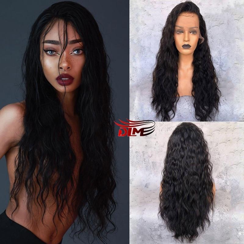 DLME-شعر مستعار صناعي مموج ، مع شريط طبيعي مموج ، مقاوم للحرارة ، للنساء السود
